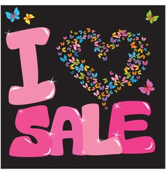 Sale concept with heart and butterfly vector image
