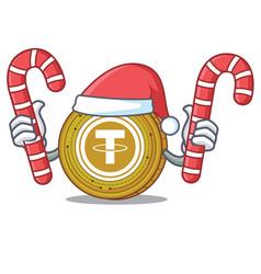 Santa with candy tether coin mascot cartoon vector
