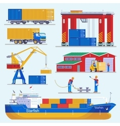 Sea Port Elements Collection vector