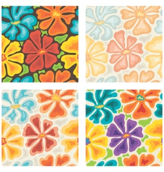 seamless colored floral patterns vector image