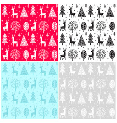 seamless pattern christmas forest vector image