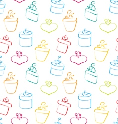 seamless wallpaper sketch colorful gift boxes vector image