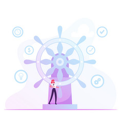 Self-confident businesswoman with paper document vector