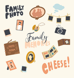 set icons photo album picture family in vector image