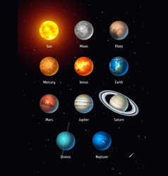 Set of solar system objects sun moon vector