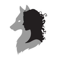 Silhouette of beautiful woman with shadow of wolf vector