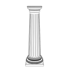 Single greek column isolated on white vector