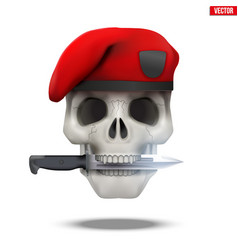 Skull with military beret and knife vector