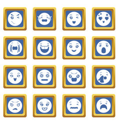 smiles icons set blue square vector image