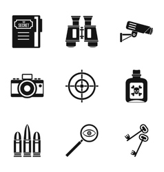 Spy icons set simple style vector