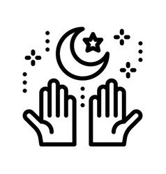Star and crescent with hand ramadan related line vector