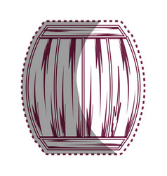 Sticker line wood barrel of wine beverage tasty vector