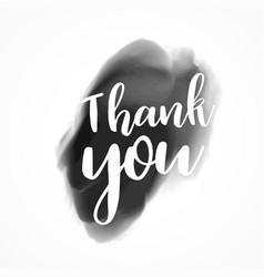 thank you written on black ink splash background vector image