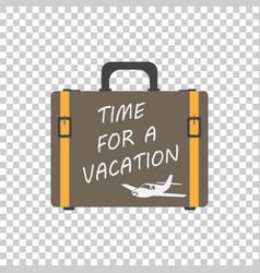 time for a vacation concept flat suitcase for vector image