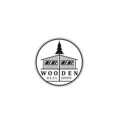 Tree house logo design - carpenter wood work vector