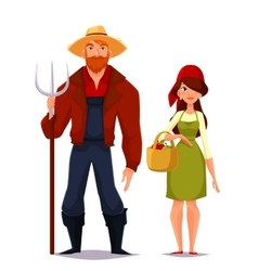 Two young man and woman farmer vector