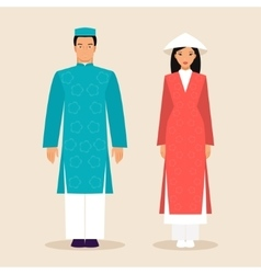 Vietnamese man and a woman vector