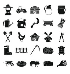 Village farm objects in black simple silhouette vector