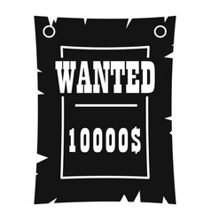 Vintage wanted poster icon simple style vector