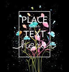 vivid floral lettering design vector image