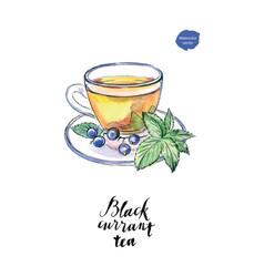 Watercolor glass cup black currant tea vector