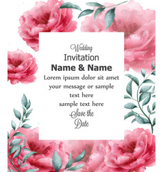 wedding invitation card with spring flowers banner vector image