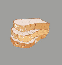 whole wheat bread multi grain bread sketch vector image