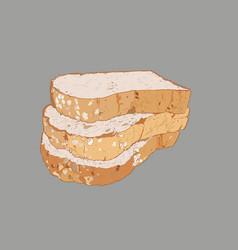 Whole wheat bread multi grain bread sketch vector