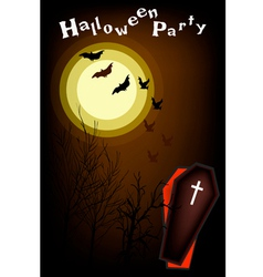 An Open Coffin on Halloween Night Background vector image