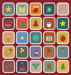 Christmas flat color icons on red background vector image