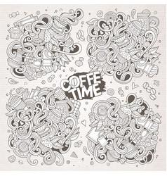 Doodle cartoon set of tea and coffe designs vector