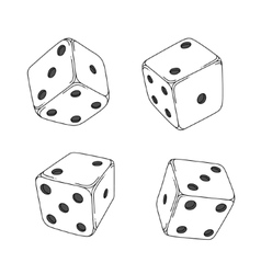 Four white cartoon-style dice cubes vector image