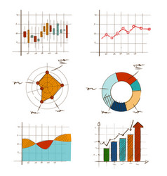 hand drawing chart graphic collection set for vector image