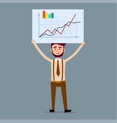 male character holds board with chart vector image