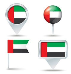 Map pins with flag of United Arab Emirates vector image