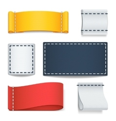 Realistic color blank fabric labels badges with vector
