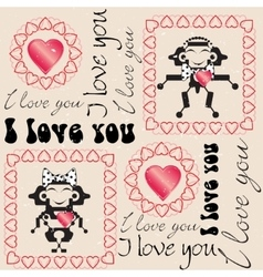 Seamless love heart pattern vector image vector image