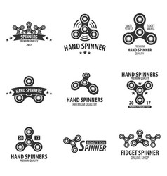 Set of hand spinner logo emblems and icon fidget vector