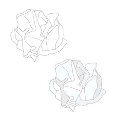 white paper crumbled ball and outline vector image