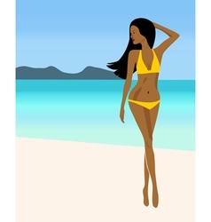 A girl in a yellow bikini vector image