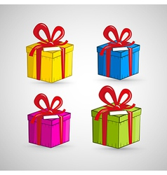 Colorful Present Boxes Isolated on White vector image
