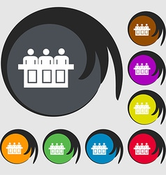 Conference icon sign symbols on eight colored vector