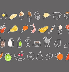 Different food hand-drawn silluettes coolection vector image vector image