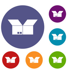 opened cardboard box icons set vector image