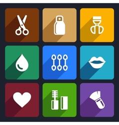 Cosmetics Perfume flat Icons Set 32 vector image vector image