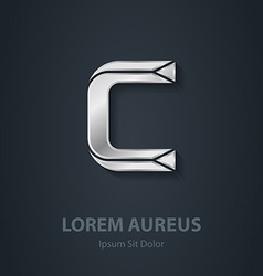 Letter C elegant silver font Template for company vector image