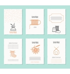 Needlework hand made card templates vector image