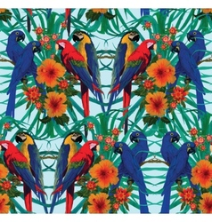 Seamless pattern with macaws and flowers vector image