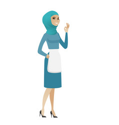 young muslim cleaner showing ok sign vector image vector image