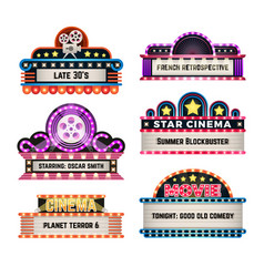 american motel and movie retro signs with light vector image vector image